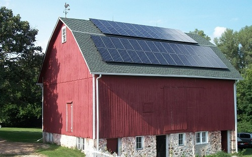 Barn with solar panels installed
