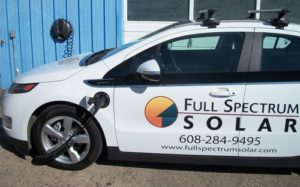 In 2012 we leased a Chevy Volt plug-in Hybrid. It charges with solar power produced at our shop and runs over 40 miles on electricity before switching to gasoline.