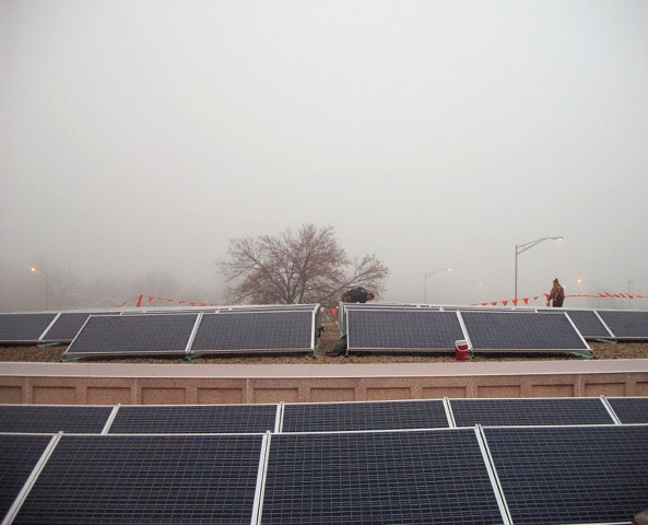 Panels on roof in rain or fog